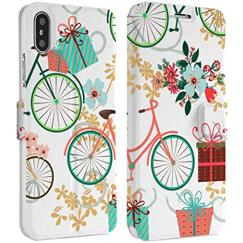 (Wonder Wild Bicycle Gift IPhone Wallet Case X/Xs Xs Max Xr Case 7/8 Plus 6/6s Plus Card Holder Accessories Smart Flip Clear Design Protection Cover Floral Presents Trip Cyclist Promenade Bow-Knot)