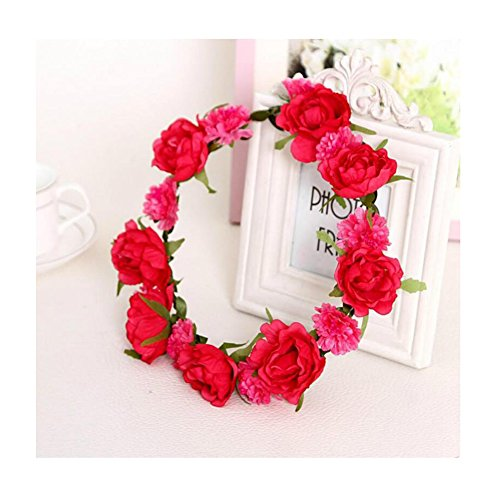 Cocokk Boho Style Floral Flower Women Hairband Festival Party Wedding Forehead Head Hair Accessories (Rose Red1)