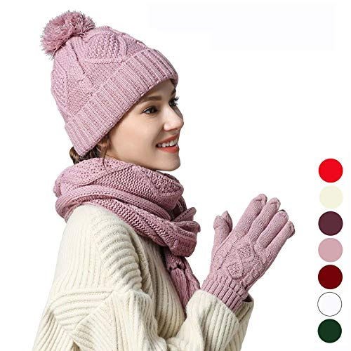 - Warm Scarf Glove Hat Beanie Set - Cable Knit Winter Gift Set Pom Cap Touch Screen Glove Long Scarf 3 PCS Set for Women