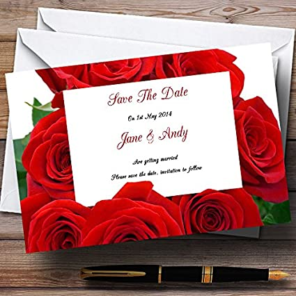 Red Rose Love Letter Personalized Wedding Save The Date Cards
