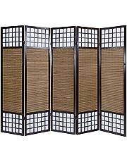 Homestyle4u 90, kamerscherm, 5-delig, opvouwbaar, ondoorzichtig, hout bamboe rijstpapier, bruin