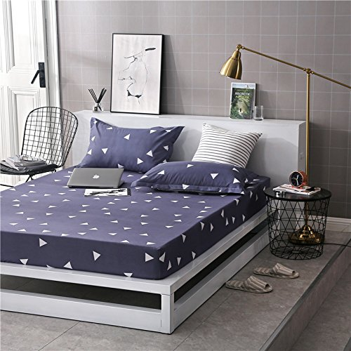 Fitted Sheet Bedsheet Without Pillowcases Used for Bedding Microfiber Single Double Bed ZF Twin Full Queen King Rose Lattice Leaf Triangle Design One Piece (Triangle, Grey, Twin 47''x78'')