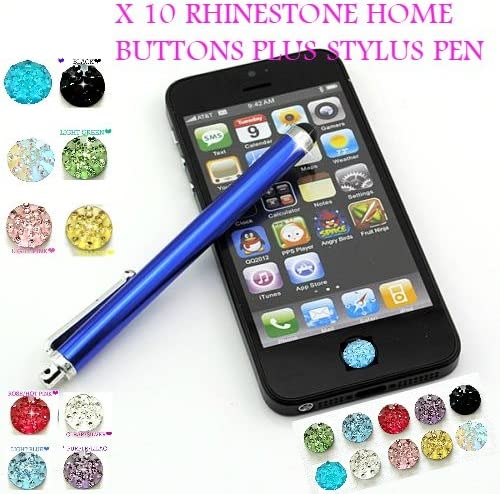 BLK BLING Home Button Sticker for iPhone 2 3G 3GS 4 4G 4S  w// Swarovski Elements