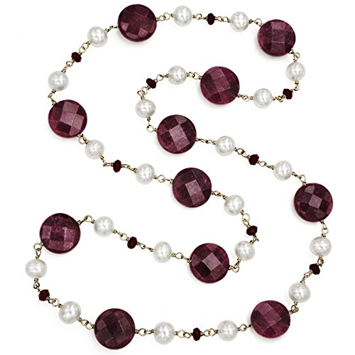 La Regis Jewelry 7-7.5mm White Freshwater Cultured Pearl with 4mm and 14.5mm Simulated Red Jade Endless Necklace, 24