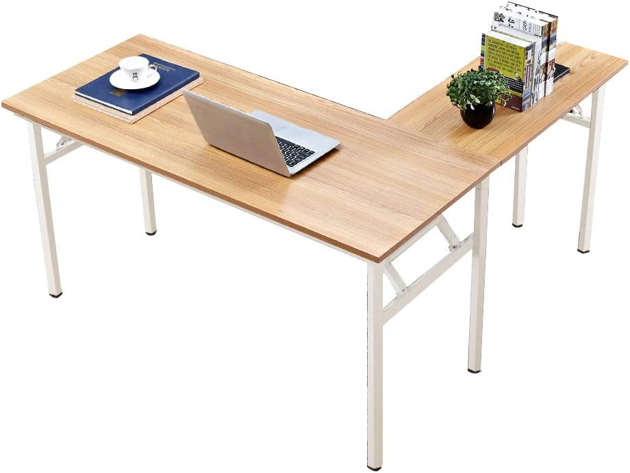 Need 55 inches x 55 inches L-Shaped Folding Computer Desk, One-Step Assembly, L Desk Home Office Desk Workstation Desk, Teak and White AC11BW-140