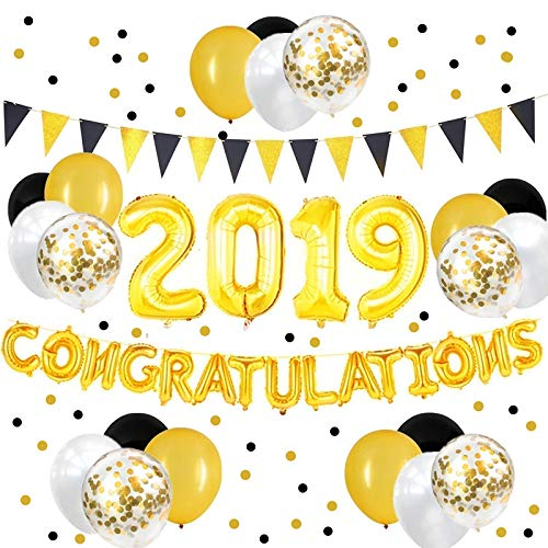 32inch Black and Gold Congratulations 2019 Balloons Banner and Paper Flags Garland for 2019 Graduation Party Decorations and Supplies]()