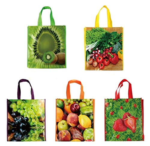 Lot of 12 Reusable Large Vinyl Fruit Print Shopping Bags Tote Grocery 15 1/8