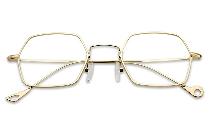 798232dd26 Amazon.com  Boho Chic Geometric Ultra Thin Lightweight Gold Metal Clear Lens  Eye Glasses - Unisex (Gold