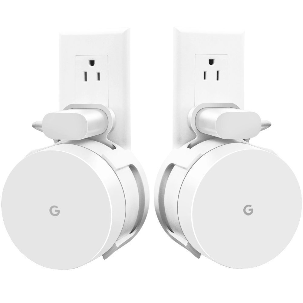 AMORTEK [Upgraded] Google Wifi Wall Mount, Wifi Accessories for Google Mesh Wifi System and Google Wifi Router Without Messy Wires or Screws (White(2 Pack)) by AMORTEK