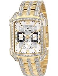 Men's 98C109 Swarovski Crystal Pave Bracelet Watch