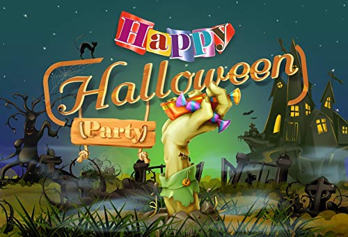 Yeele 6x4ft Happy Halloween Party Background for Photography Cartoon Funny Monster Old Castle Undead Zombie Black Cat Photo Backdrop Kids Boys Adult Portrait Booth Shoots Studio Props Wallpaper