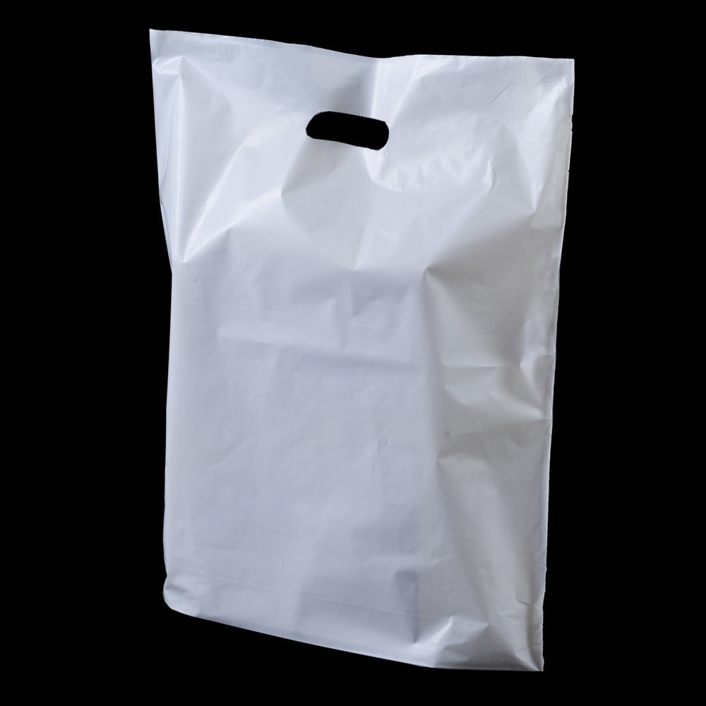 100 x Strong White 'Patch' Handle Party Plastic Carrier Bags - 10