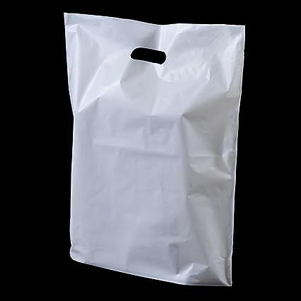 100 x Resistente Blanco Parche mango Fiesta Plástico Bolsas - 10