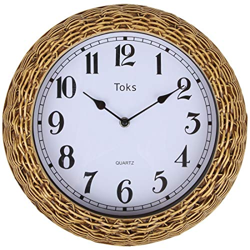 Lily s Home Country-Inspired Woven Rattan Wicker Basket Indoor Outdoor Wall Clock, 12.5 Inch