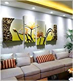 FamilyWall Living room sofa background decorative painting 4pcs hand dimensional relief leather painting , gold