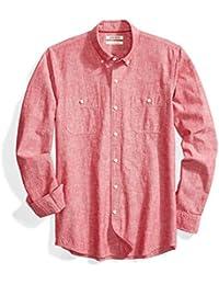 Men's Slim-Fit Long-Sleeve Chambray Shirt