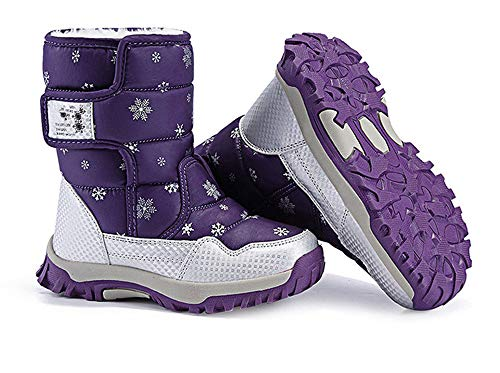 - Boys Snow Boots Outdoor Waterproof Winter Kids Shoes(Purple EU 37/5 M US Big Kid)