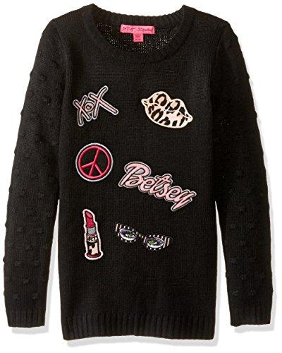 Betsey Johnson Big Girls' Popcorn Stitch Sweater, Black, Medium