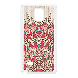 Colourful Geometric Mandala on Light Wood Grain Texture White Hard Plastic Case for Galaxy Note 4 by UltraCases + FREE Crystal Clear Screen Protector