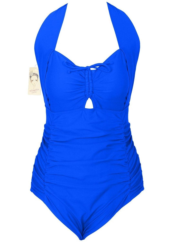 Plus-Size Inspired Retro Swimsuit Classic One Piece Swimwear Pin Up Monokini