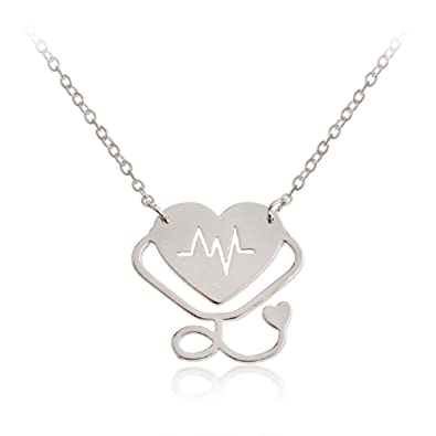 Heartbeat Necklace Valentines Pendant Silver ECG  New UK