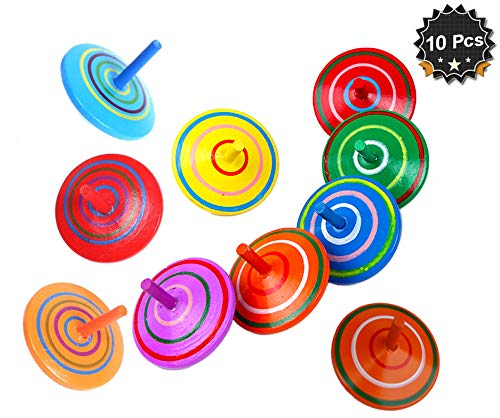 Multicolor Wooden Spinning Top Toy, Pack of 10