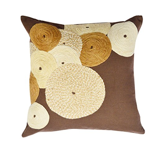(A1 Home Collections Concentric Circles Jute Embroidered Decorative Throw Pillow, 18