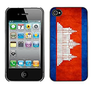 PC/Aluminum Funda Carcasa protectora para Apple Iphone 4 / 4S National Flag Nation Country Cambodia / JUSTGO PHONE PROTECTOR