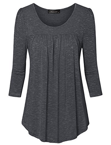 Vinmatto Women's 3/4 Sleeve Scoop Neck Front Pleated Tunic Top(XXL,Black)