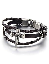 Mens Cross Skull Brown Braided Leather Bracelet Multi-strand Leather Wristband Wrap Bracelet