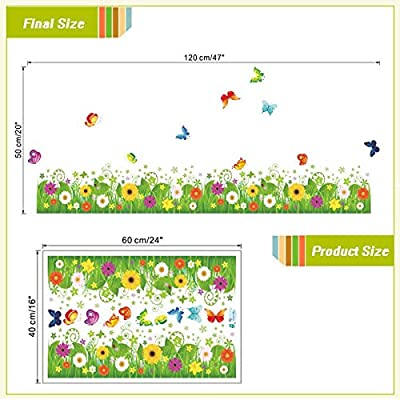 FunnyPicker Colorful Flowers Butterflies Fences Baseboard Wall Decals Home Decorative Stickers Living Bedroom Mural Art Diy 3D