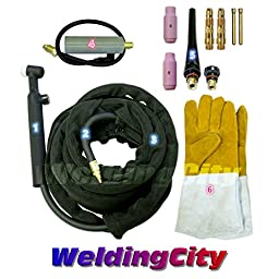 WeldingCity TIG Welding Torch #26FV-25R (Flexible/Gas-Valve Head) Complete Ready-to-Go Package for Miller Welder Air-Cool 25-foot Cable 200Amp w/ Gloves