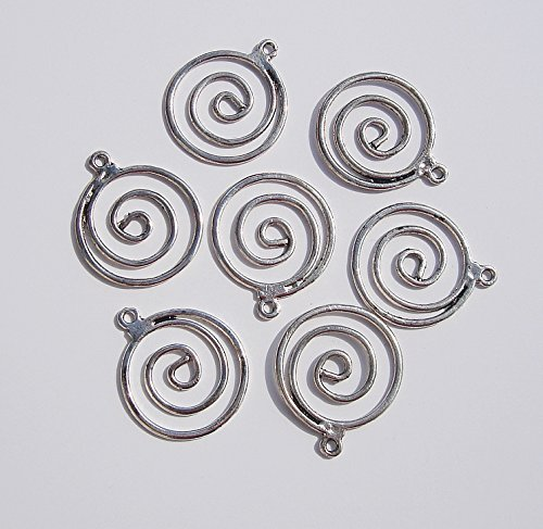 BeadsTreasure 6 Pcs- Pendant Charm Connector Flat Round Swirl Antique Silver 29x25mm for Jewelry Making. (Connector Swirl)
