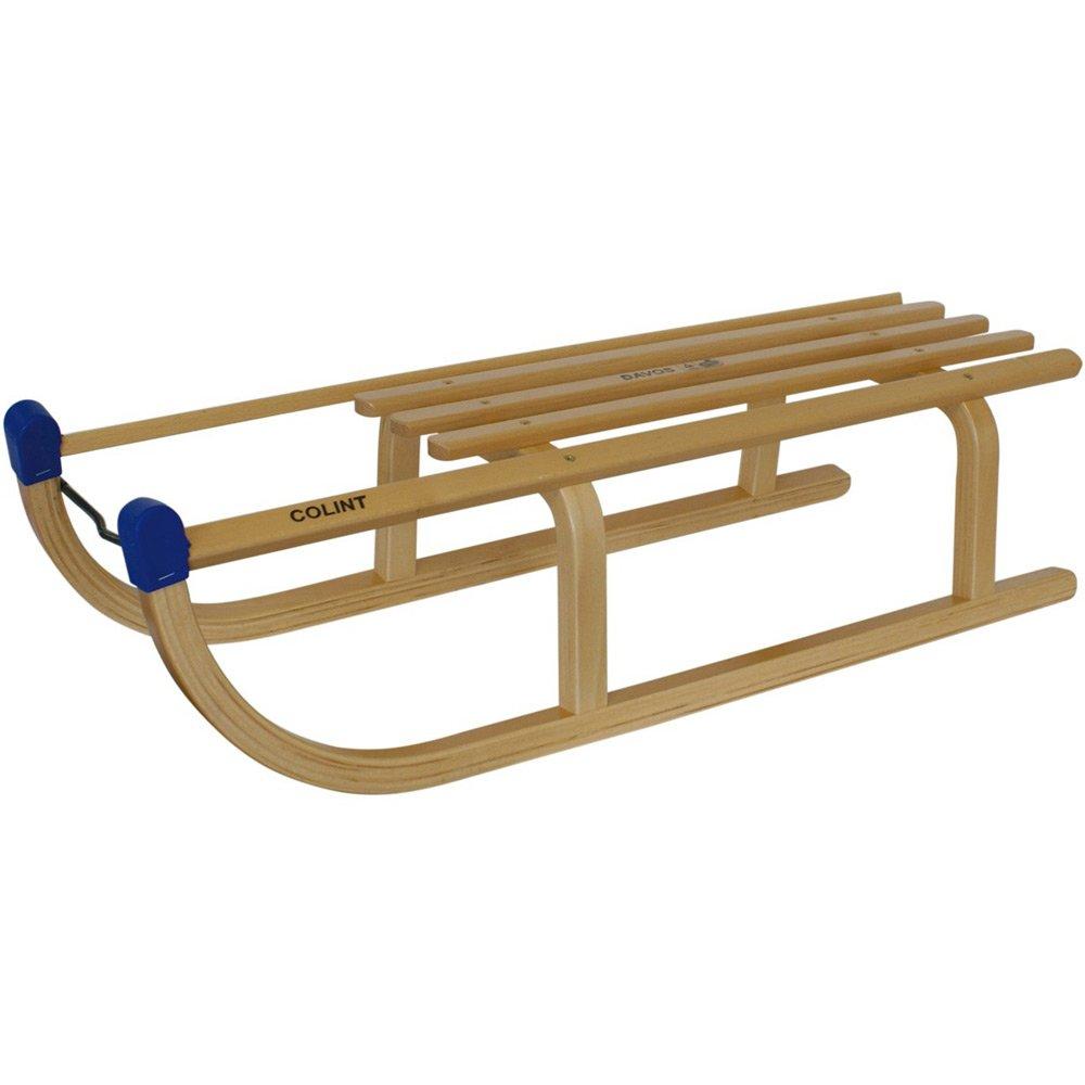 Holzschlitten in Davos Colint-Stil, 90 cm, sehr stabil, Buchenholz, TÜV-GS Geprüft: Holz Schlitten Schnee Rodelschlitten Winter Sport Kinderschlitten Stabil