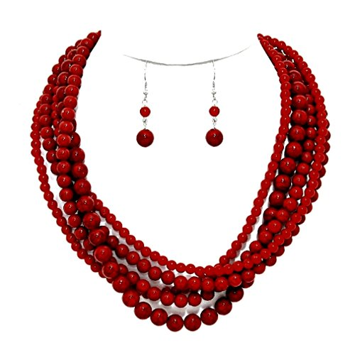 Jewelry Red Coral Bead Necklace - 5