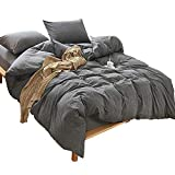 MooMee Duvet Cover Set 100% Washed Cotton Soft Breathable Durable 3 Piece Home Bedding Set Dark Grey Queen