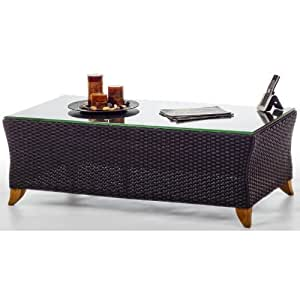 Woven Rattan Coffe Table with glass table top - Patoi and Garden Furniture