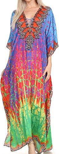 Sakkas SS1681 KF5082LAT - LongKaftan Georgettina Ligthweight Printed Long Caftan Dress/Cover Up - Green/Blue -OS (Vegas Las Perfect Patio Covers)
