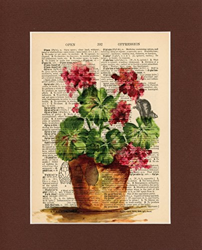Vintage Dictionary Art Print-Red Geraniums by Sun City Art