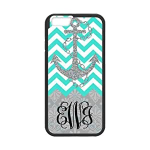 Bling Anchor in Cyan & White Chevron Background With Grey European Retro Pattern Monogram Classic PoP Design Fashion Custom Luxury Cover Case With Plastic For Iphone 6