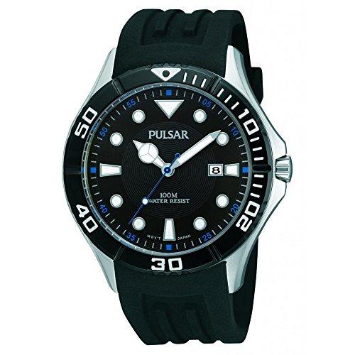 Pulsar Rubber Watch - Pulsar PH9025X All Black Dial & Sports Strap Dive Men's Watch
