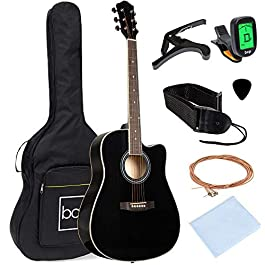 Best Choice Products 41in Full Size Beginner All Wood Cutaway Acoustic Guitar Starter Set with Case, Strap, Capo…