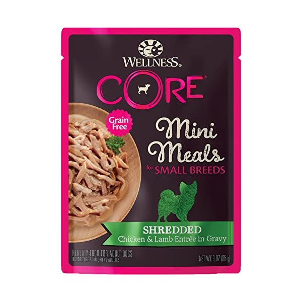 Wellness Core Natural Grain Free Small Breed Mini Meals Wet Dog Food, Shredded Chicken & Lamb Entrée In Gravy, 3-Ounce Pouch (Pack Of 12)
