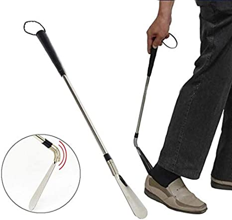 24 inches Long Stainless Steel Shoehorn Flexible Metal Shoe Horn for Elderly
