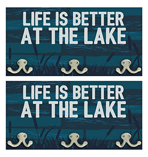 ThisWear Lake Themed Gifts Life is Better at The Lake House Decor 2-Pack Wood Wall Mounted Coat Rack