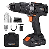 "Tacklife 20V MAX 1/2"" Cordless Drill Driver Set with Hammer Function, 2-Speed Max Torque 310 in-lbs, 43pcs Accessories Included, 2.0Ah Lithium-Ion Battery