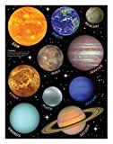 SOLAR SYSTEM wall stickers 10 decals planets w/name Earth Sun Saturn Mars -Removable / repositionable
