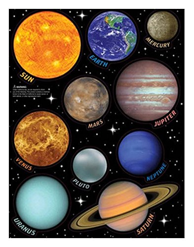 SOLAR SYSTEM wall stickers 10 decals planets w/name Earth Sun Saturn Mars -Removable / repositionable by Unknown