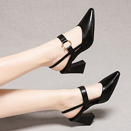 Noir AJUNR Femmes Loisirs Printemps et été Mode Sandales A Fait 7cm de Haut Talons Le et Talon Chaussures Creux Seul Les Chaussures