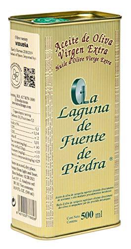 La Laguna de Fuente de Piedra   Extra Virgin Olive Oil   New Harvest 2018/19   16.9 fl oz   Single Origin   Small Batch   First Cold Press   Unblended   Family Estate   100% Viduena Olive   Spanish